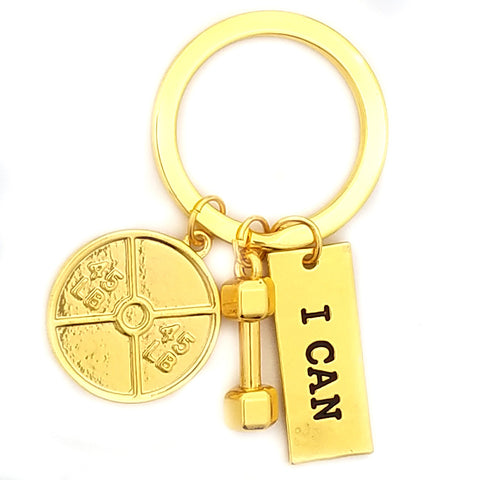 I Can 45lb Plate and Dumbbell Gold Keychain