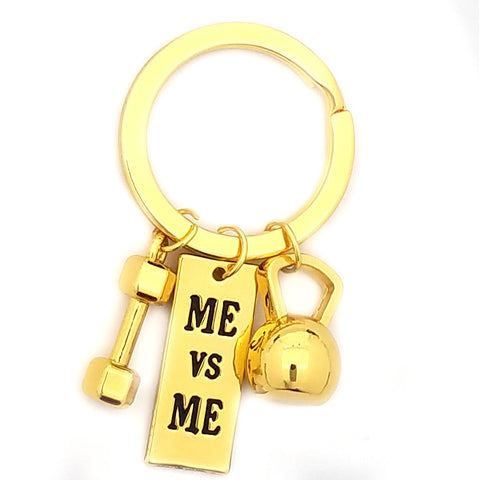 Me Vs Me Kettlebell and Dumbbell Gold Keychain