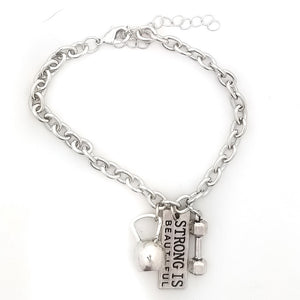 Strong Is Beautiful Kettlebell and Dumbbell Link Bracelet