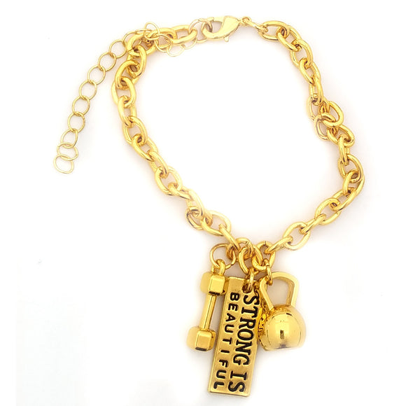 Strong Is Beautiful Kettlebell and Dumbbell Gold Link Bracelet