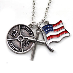 Cross Necklace With 45lb Plate and American Flag