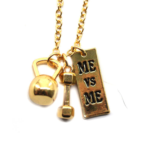 Me Vs Me Kettlebell and Dumbbell Gold Necklace