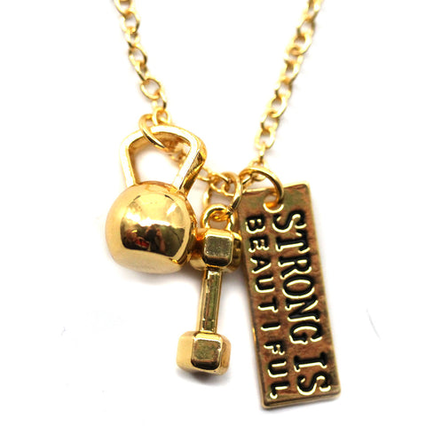 Strong Is Beautiful Kettlebell and Dumbell Gold Necklace