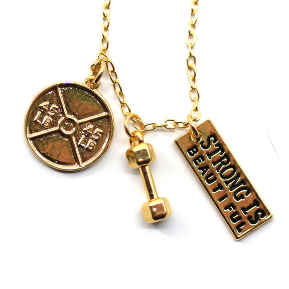 Strong Is Beautiful 45lb Plate and Dumbbell Gold Necklace