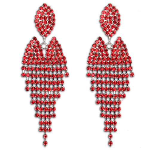 Red Dangle Competition Earrings