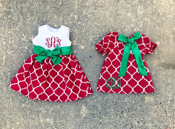 9abf1b976348 Girls Red and green matching sister Christmas dresses