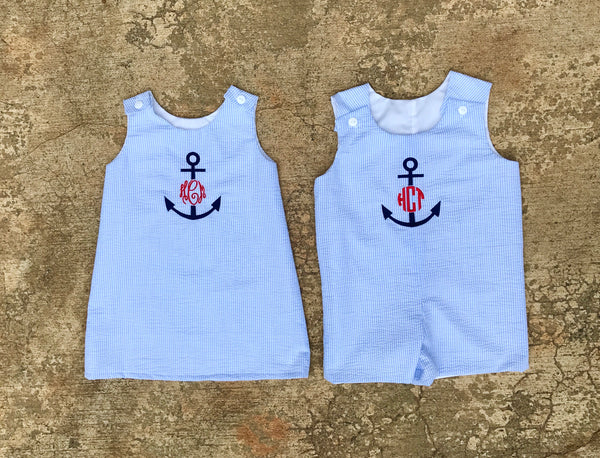 285386d149e6 Matching brother sister outfits monogrammed anchor