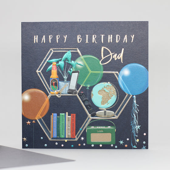 black background with gold embossed hexagonal shelves holding a radio, books, plants and a globe with two  balloons.