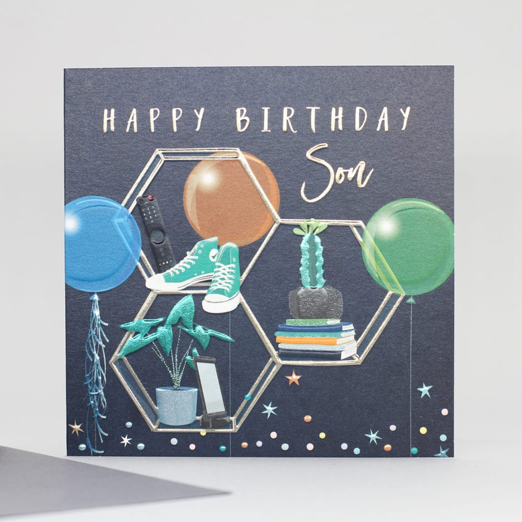 black background with gold embossed hexagonal shelves holding trainers, books, plants with two balloons.