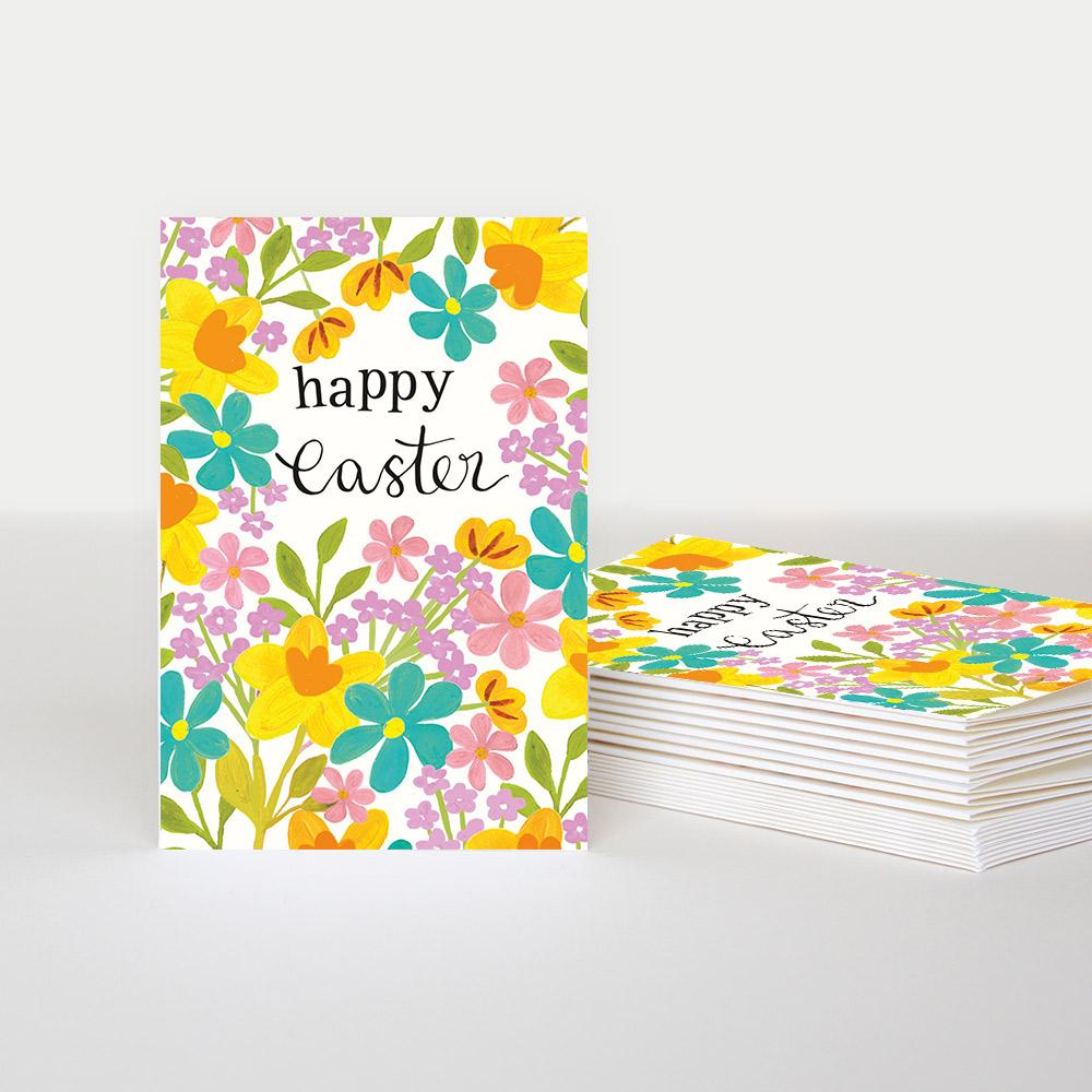 10 pack of colourful spring flowers cards with Happy Easter written on the front
