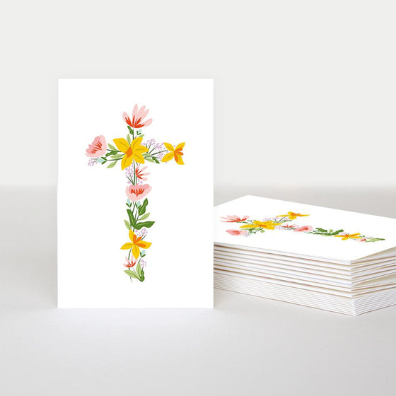 Floral cross on a white background