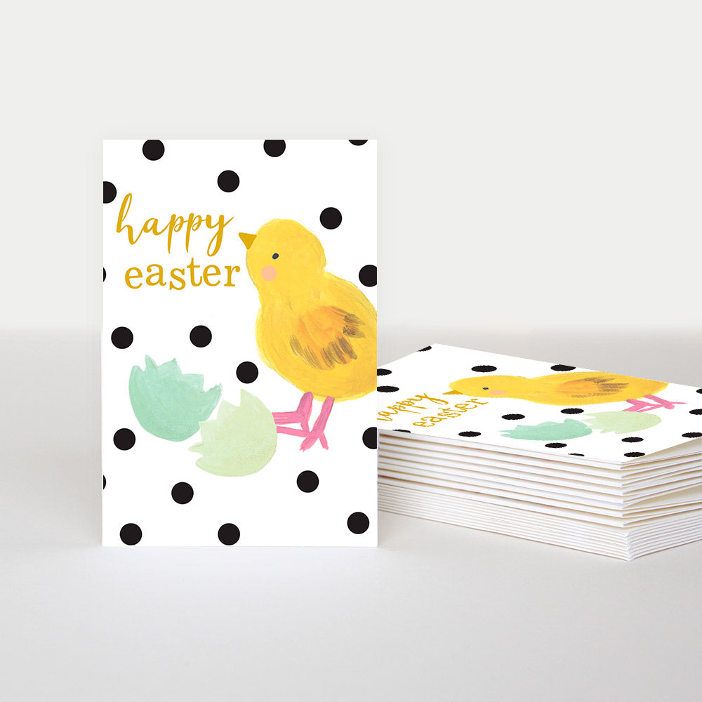 pack of 10 Easter cards. White background with black spots and happy easter in gold with a chick and broken pale green egg