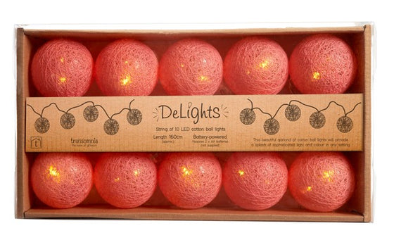 Coral Cotton Ball String of Lights