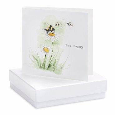 Crumble & Core Sterling Bee Happy Boxed Earring Card