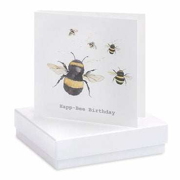 Sterling Silver Bee Happy-Bee Birthday Earring Card