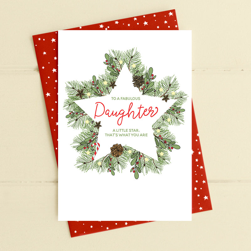 Daughter Christmas Card with star wreath