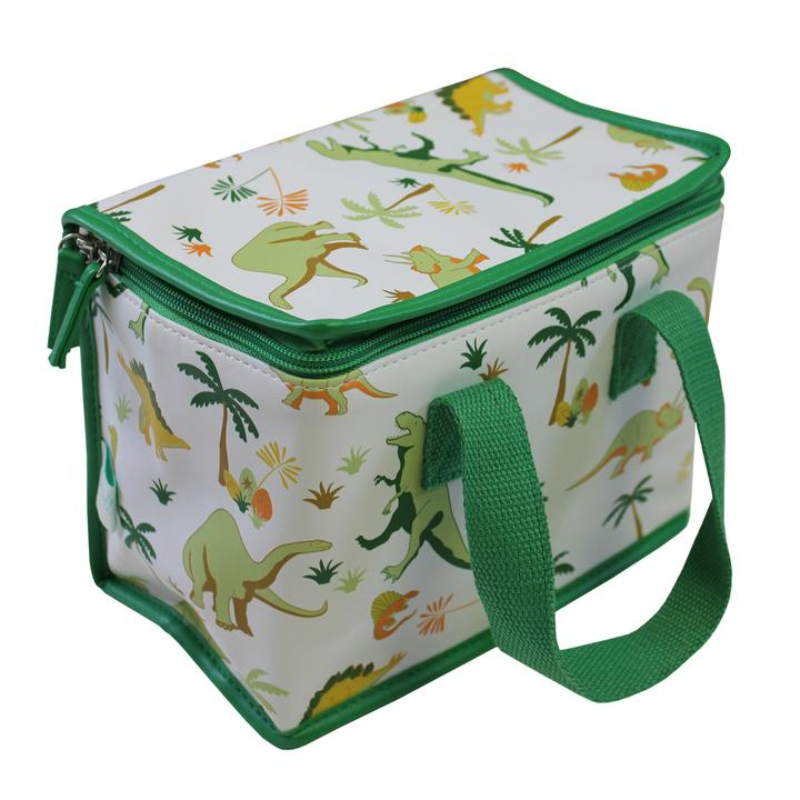 Dinosaur insulated lunch bag with green strap and edging
