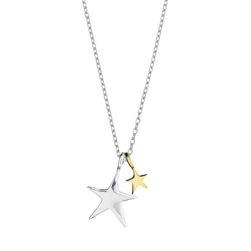 Estella Bartlett Two Tone double Star Silver Plated Necklace
