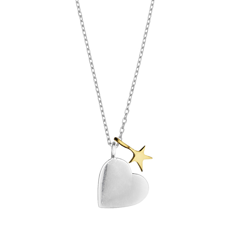 Estella Bartlett Two Tone Heart and Star Silver Plated Necklace
