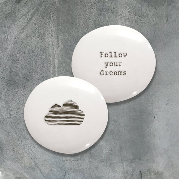 East of India follow your dreams with cloud on reverse in black pebble