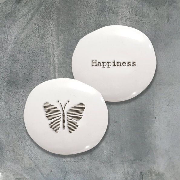 white porcelain pebble with Happiness and butterfly on reverse in black