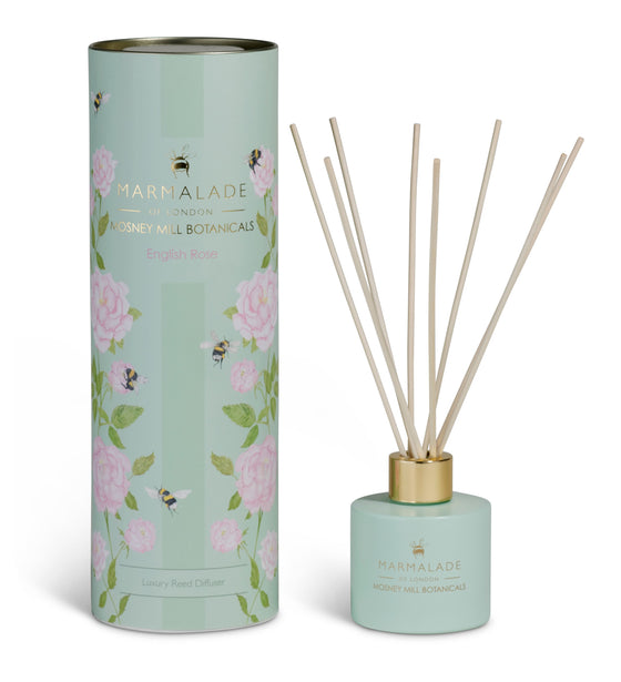 Marmalade of London Mosney Mill diffuser English rose with bees and pink roses and a pale green vessel