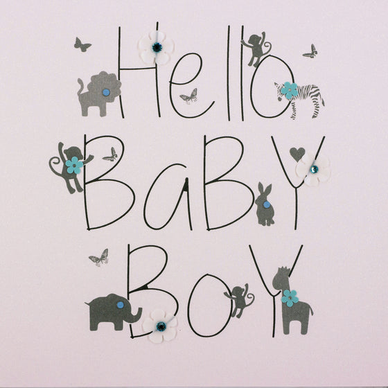 five dollar shake hello baby boy card with animals and adornments on