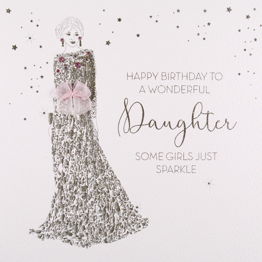 Five Dollar Shake Daughter card sparkle and long dress