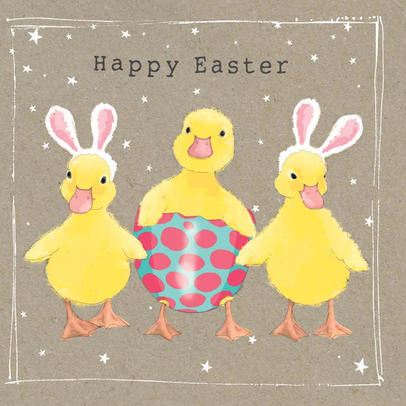 three yellow chicks with pink ears, one sat in a spotty easter egg with sparkly gems