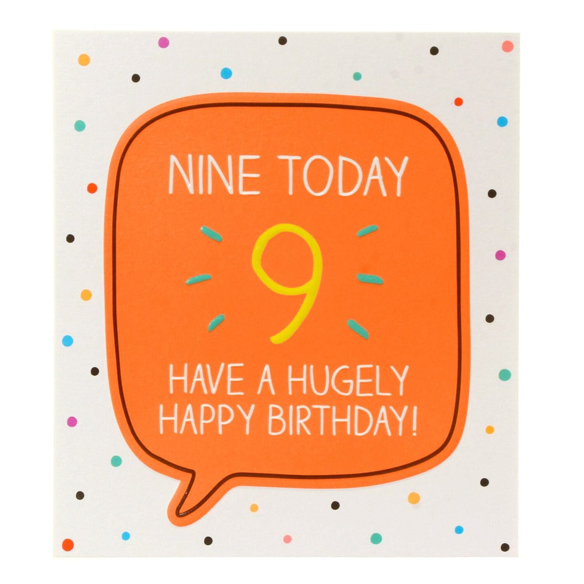 Bright yellow number 9 in a orange speech bubble with a spotty background