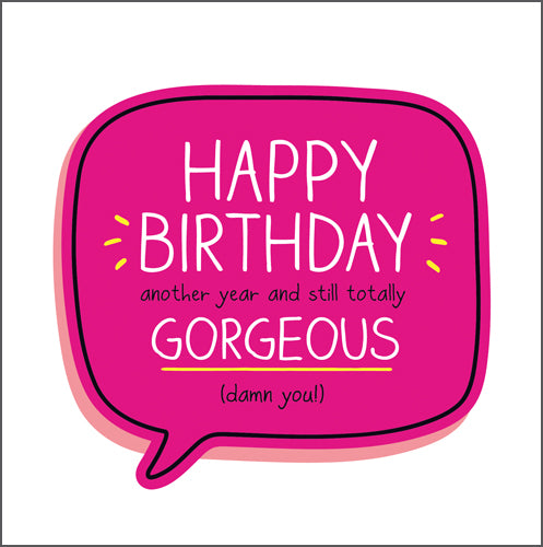 Happy Jackson Happy Birthday Gorgeous Card. A bright pink speech bubble with bold white lettering on a white background.