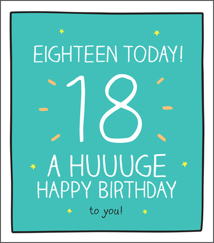 Happy Jackson 18 today, bright green background with bold white lettering.