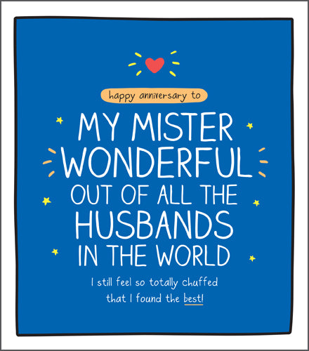 Happy Jackson Wonderful Husband Anniversary Card. Blue background with bold white lettering with a red heart at the top.