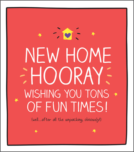 Happy Jackson New Home Card. Bright orange background with bold white lettering with a yellow house with a purple heart  at the top.