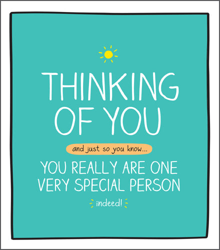 Happy Jackson Thinking of You card. Thinking of You and just so you know, You Really Are One Special Person. Green background with white bold lettering with a yellow sun above the writing.