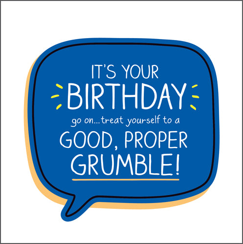 Happy Jackson Birthday Card. Blue speech bubble with bold white lettering on a white background.