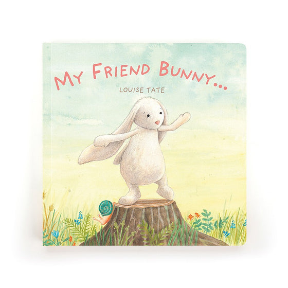 My Friend Bunny Book, Lovely cream bunny stood on a tree stump with woodland flowers behind.