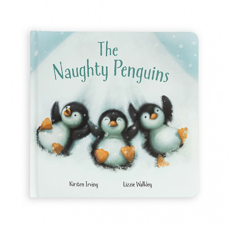 The Naughty Penguins- three naughty penguins lying on their backs in the snow.
