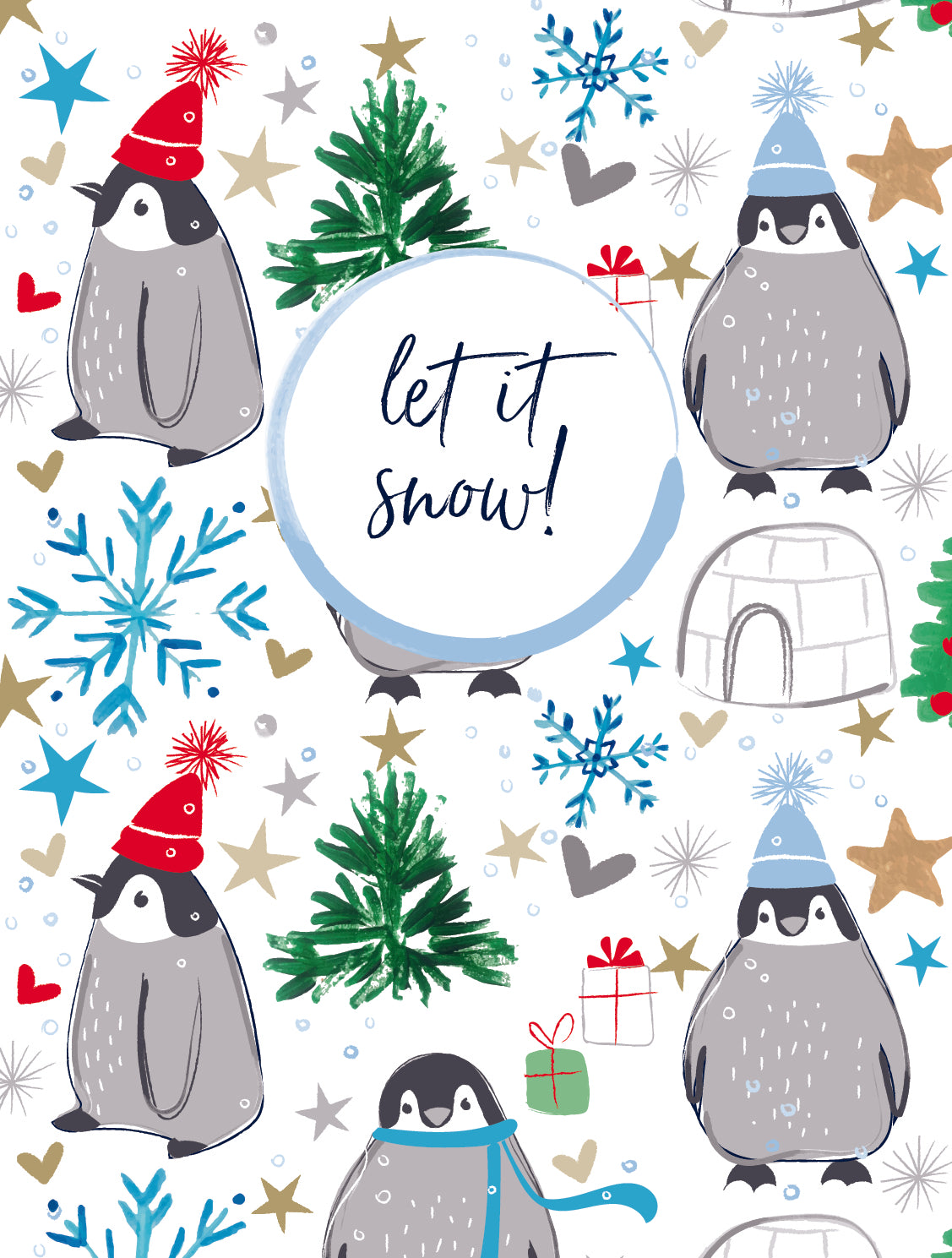 Katie Pythian Let it Snow snow penguin pack of 5 Christmas cards
