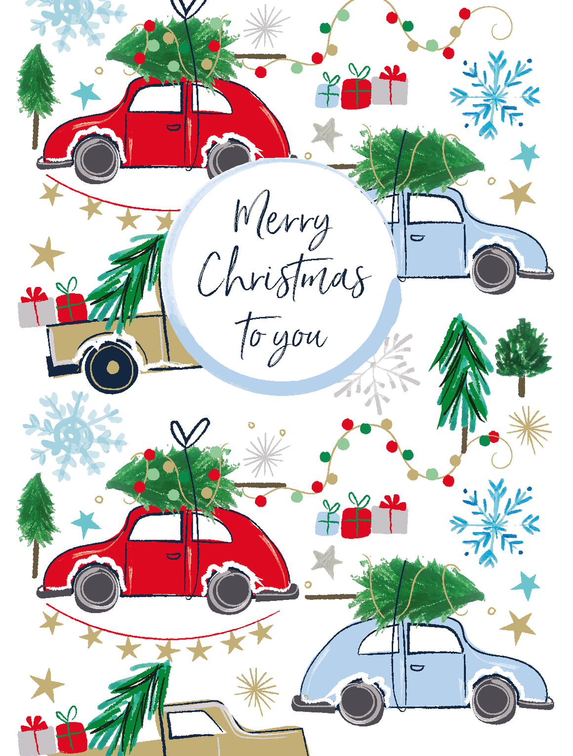 Katie Pythian merry Christmas to you cars Christmas card pack