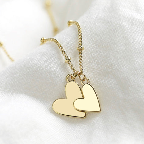 gold-plated-double-heart-necklace-on-satellite-chain
