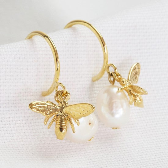 Gold Plated bee hoop earrings with freshwater pearl