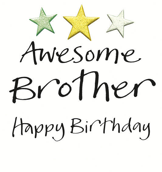 awesome brother happy birthday with three stars