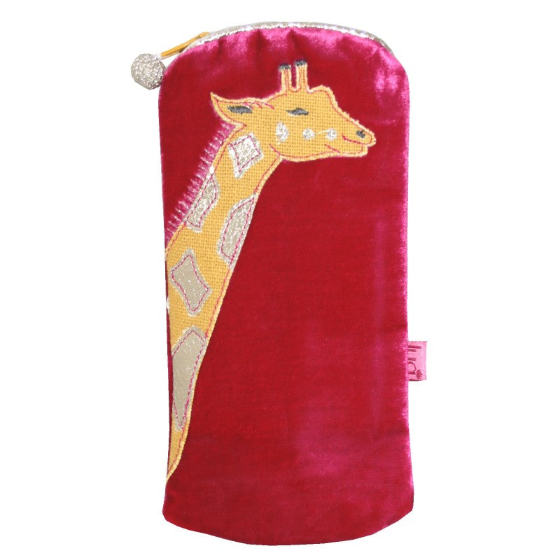Velvet glasses case with giraffe applique.
