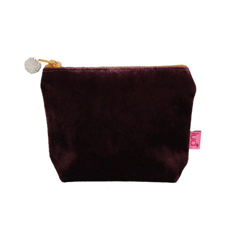 Plum velvet mini purse with mustard beaded zip.