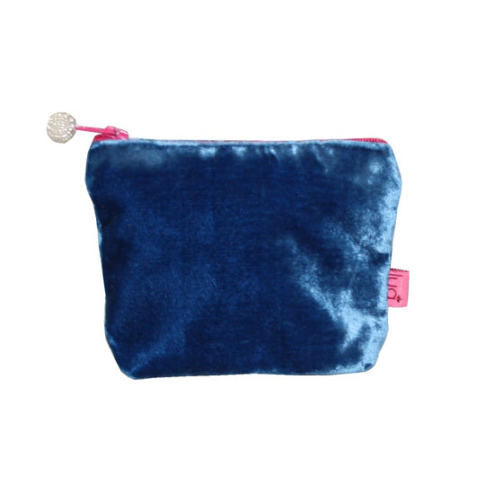 Blue velvet mini purse with cerise beaded zip