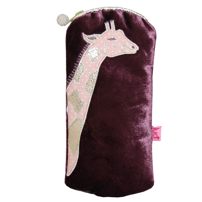 Velvet  glasses  case with a  pink giraffe