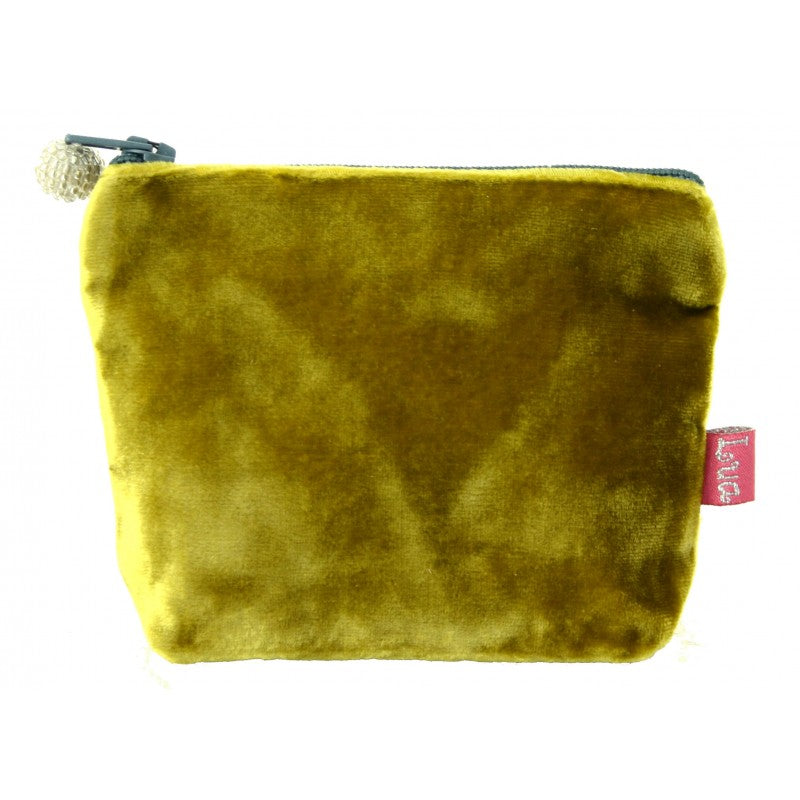Mustard velvet mini coin purse with teal beaded zip.