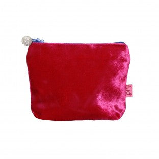 Fuschia velvet mini purse with blue beaded zip.