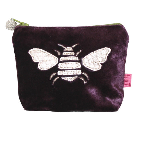 SMall fig velvet coin purse with gold bee applique.